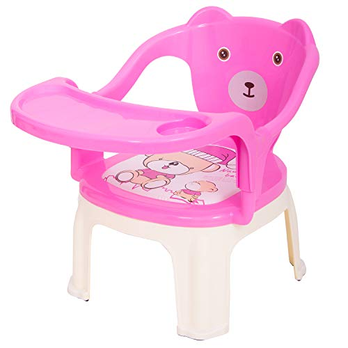 Baybee Baby Chair, With Tray Strong And Durable Plastic Chair For Kids/Plastic School Study Chair/Feeding Chair For Kids,Portable High Chair For Kids 1-7 Years (Pink)