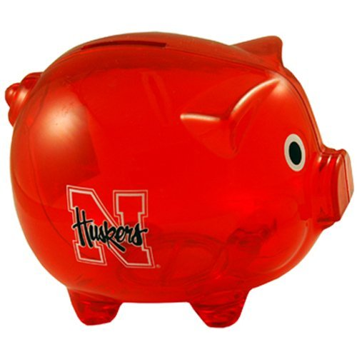 (NCAA Nebraska Cornhuskers Clear Plastic Piggy Bank by Game Day Outfitters)