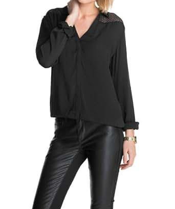 edc by ESPRIT Blouse  Tunique Col chemise classique Manches longues Femme  - Noir - Noir - 36