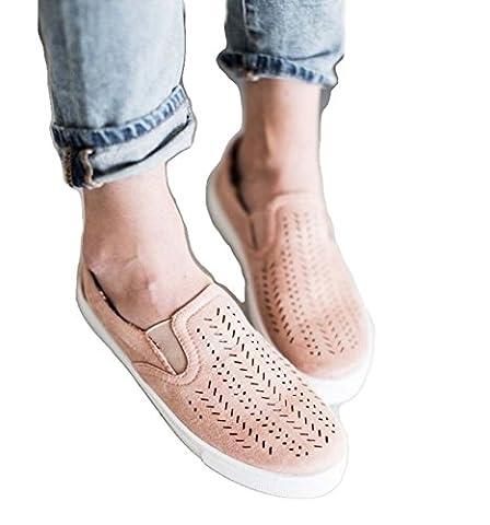 Frauen-große Größen-flache Schuhe Hohle Runde Zehe-Segeltuch-Schuhe Beiläufige Schuhe ( Color