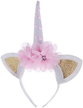 MagiDeal Einhorn Stirnband mit Ohren Kostüm Party Festival Fasching Kostüm