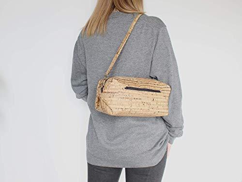 Kork Handtasche, Umhängetasche, vegan, schwarze Schultertasche, Geschenk, - 5