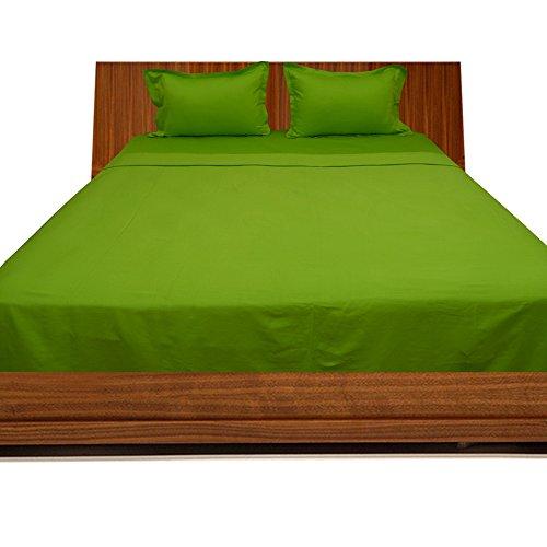 600TC Spannbetttuch aus 100% ägyptischer Baumwolle einfarbig elegant (Steggröße: 71,1cm), baumwolle, Parrot Green Solid, EU_Single