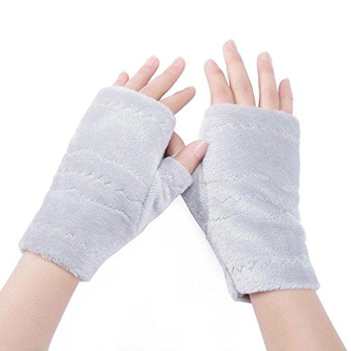 LCLrute Half Finger Fingerlose Handschuhe Frauen Winter Handgelenk Arm Handwärmer Plüsch Handschuhe (Grau) (Fingerlose Handschuhe Stricken)