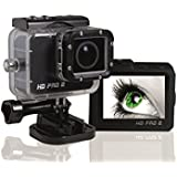 HD PRO 2 Action Cam (Full HD, 60 fps, 20 Megapixel, 2 Zoll LCD Display, Weitwinkelaufnahmen 175°, HDMI, USB, Wifi + gratis App) schwarz
