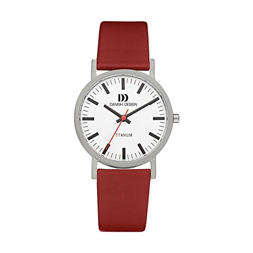 Danish Design Women's 35mm Red Leather Band Titanium Case Quartz White Dial Analog Watch IQ19Q199