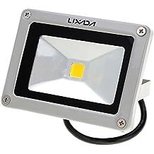 Lixada Faretto da Esterno IP65/Potente Portatile Luci dell'inondazione del LED,Alta uscita 950LM,DC 12V,10W (bianco caldo)