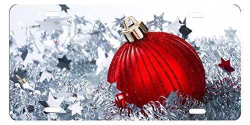 DQVWGK Weihnachten rot Ballon Custom Aluminium License Plate Frames für Auto License Plate Cover mit 4Löchern Auto-Tag 15,2x 30,5cm