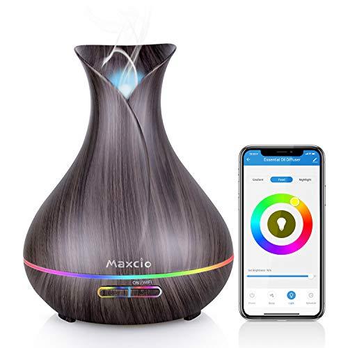 Alexa Aroma Diffuser, Maxcio Smart Ätherische Öle WLAN Luftbefeuchter 400ml,Kompatibel mit Alexa und Google Home, APP Steuerbar, Timer Funktion, 7-LED-Farbe und 2 Modi Für Schlafzimmer und Büro usw.