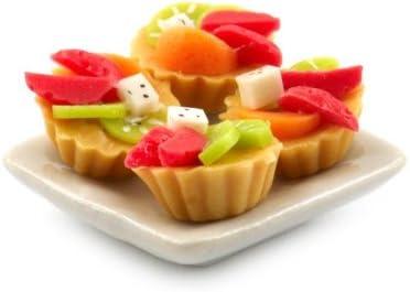 MyTinyWorld 4 Maison de Poupées Miniature Mélange Mélange Mélange de Fruits Tartes sur une 19mm Assiette carrée B00G1SX02U 069a01