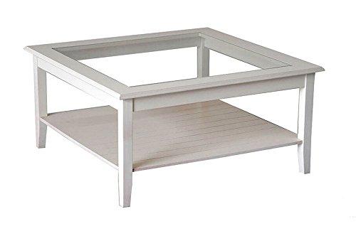 Table basse bois massif laqué blanc plan en verre. Classique et moderne