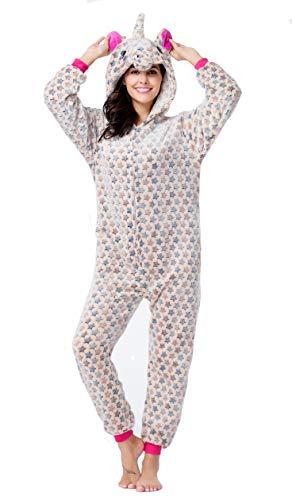 CozofLuv Einhorn Kostüm Erwachsene Tier Jumpsuits Pyjama Nachthemd Nachtwäsche Karnevalskostüme Faschingskostüm Kapuzenkostüm (S: 150-160cm, Brauner Stern)