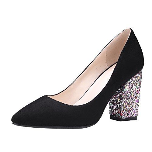 Mee Shoes Damen chunky heels spitz Nubukleder Pailletten Pumps Schwarz