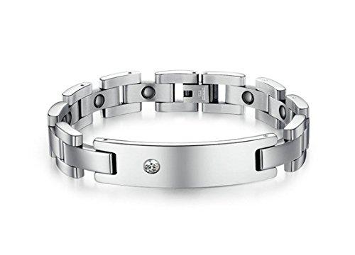Bishilin Modeschmuck Edelstahl Armband Damen Naturstein Damenarmband Armbänder Silber