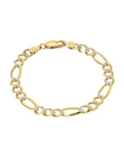 MCS Jewelry 14Karat Gelb Gold zwei Ton Figaro Kette Armband (6) von MCs Jewelry (Gold Overlay Kette Herren 14k)