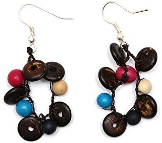 Idin pendientes hechos a mano - coco rebanadas y multicolour colour Achirasamen ensartar un anillo (aproximadamente 6 cm)