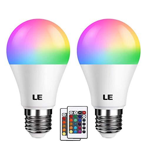 LE RGBW E27 LED Lampe, 6W dimmbar Birne mit Fernbedienung, RGB + Warmweiß 2700 Kelvin Farbwechsel...