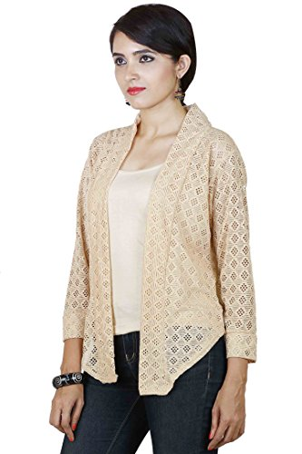 Dhanvarsha Fashion Women's Cotton Shrug (DFOC179CRM__Off-White_Free Size)  available at amazon for Rs.270