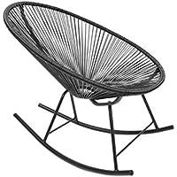 Retro Acapulco Lounge Relax Schaukelstuhl Rocking Chair Rahmen & Füße Pulverbeschichtet Indoor& Outdoor Farbe Schwarz