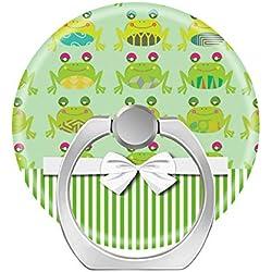 Zoyaley-Cell Soporte de Anillo para teléfono móvil, 360 Grados, Soporte de Anillo para Smartphone, Tablet y Coche, Montura Linda y Divertida Rana Feliz y Rayas