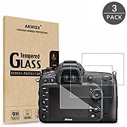 [Lot de 3] Films protecteurs pour Nikon D7100 D7200 D800 D800e D810 D750 D600 D610 D500 Verre Trempé, Akwox Dureté 9H 0.33MM Anti Rayures HD Film de Protection d'Écran Caméra en Verre Optique