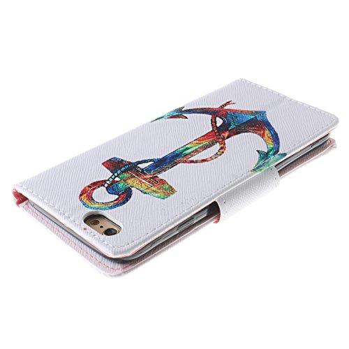 Cozy Hut Custodia iPhone 6 6S (4,7 Zoll) in Pelle, Portafoglio / wallet / libro Flip elegante e di alta qualità con porta carte di credito e banconote Stampa creativa Chiusura Magnetica Protettiva Cov lancia mare