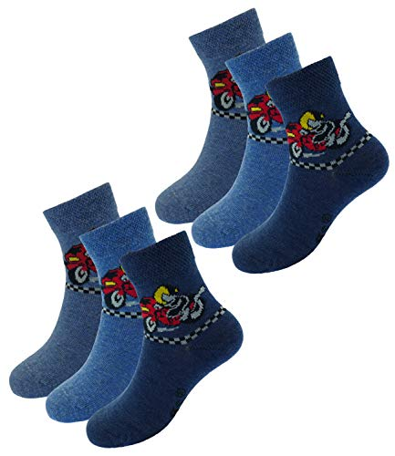 EveryHead Riese 6er Pack Jungensocken Sparpack Markensocken Socken Strümpfe Kleinkind ganzjährig Summer Rallye Blue Kinder (RS-20813-S19-JU0-2x25-23/26) in 6er Jeans, Größe 23/26 inkl Hutfibel -