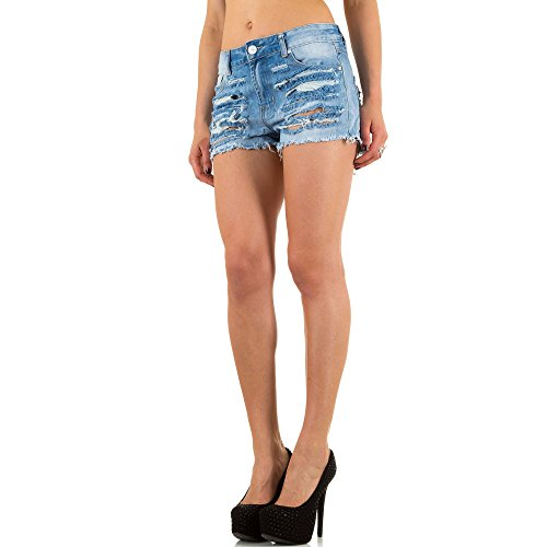 Damen Shorts, DESTROYED JEANS HOT PANTS, KL-J-Q1519 Blau