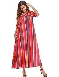 1abec0fd87a Tidecc Women Maxi Shirt Dress Short Sleeve Button Down Striped Maxi Long  Dress with Pockets 4