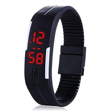 Enjoydeal Fashion Student Digital LED Sports Bracelet Wristwatch Black