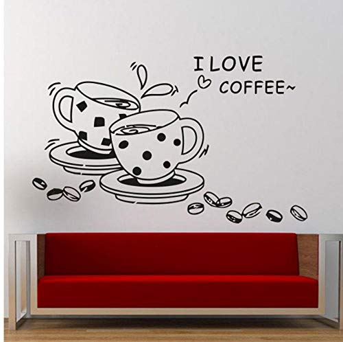 Xxscz Coffee Shop Quote Wall Decal Kitchen Cup Word I Love Coffee Vinyl Wall Sticker Decals Room Design Bedroom Heart Mural 57X92Cm