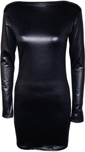 WearAll - Damen Nass Effekt Glänzend Figurbetontes Kleid - Schwarz - 40-42 (Größe 36 Damen Kleid)