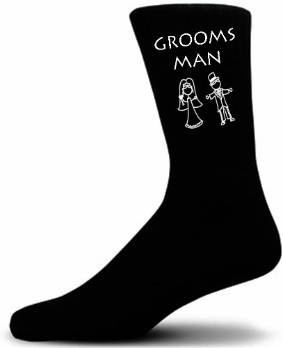 Cute Wedding Figures, Grooms Man Black Wedding Socks. Adult size UK 6-12 Euro 39-49