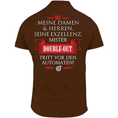 Männer und Herren POLO Shirt Seine Exzellenz DER DARTER (mit Rückendruck) Braun