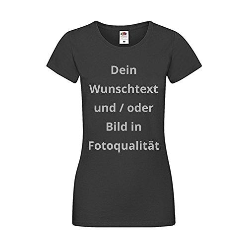 Damen T-Shirt Bedrucken - Text und Bild individuell auf Ihr T-Shirt Drucken Lassen | Personalisiert Farbe Schwarz, Größe S