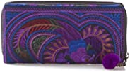 Lalaloi Handmade Bird Purse in Purple, Hmong Tribes Embroidered Wallet for Women