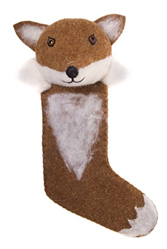 Red Co. Bezaubernde Weihnachtsstrümpfe, handgefertigt, Woodland Critters, Wollstoff, Größe L, 51 cm Hütte Large Fuchs