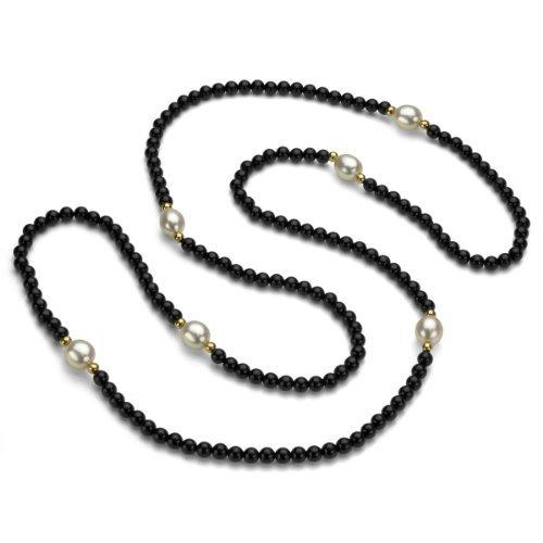 Oro giallo 14 k, 3 mm, con perle 8-9 mm, con perle d'acqua dolce e 3, 4 mm, 30 cm, colore: Nero e Onyx-Collana con