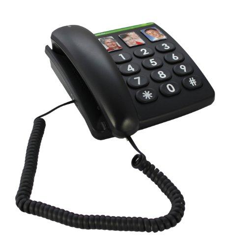 Doro PhoneEasy 331ph Schnurgebundenes Großtastentelefon mit 3 Direktwahl-Fototasten schwarz