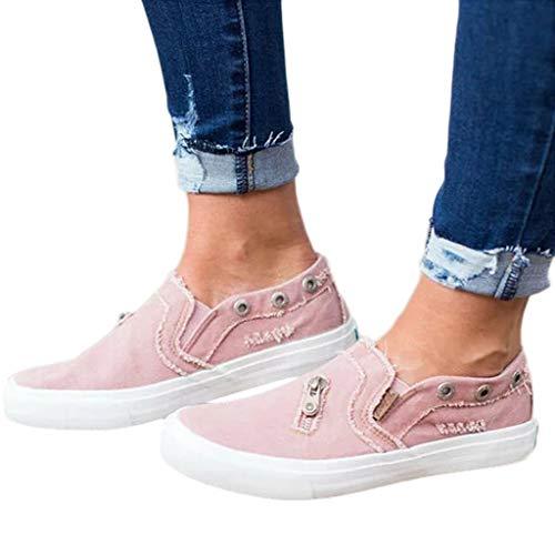 Billige Bequeme Sportschuhe für Damen/Dorical Frauen Canvas Sneaker, Low Übergrößen Flandell Top Basic Turnschuh Textil Schuhe/Schwarz, Blau, Beige, Pink 35-43 EU(Rosa,37 EU)