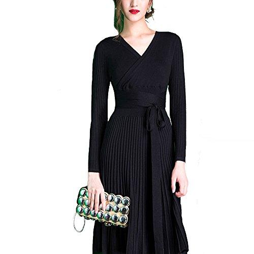 Aimado Damen Elegant Strickkleid Casual Wrap V Ausschnitt Langarm Plissee Strickpullover Kleid Abendkleid Pulloverkleid, Schwarz, one size (Kleid Surplice Ausschnitt)