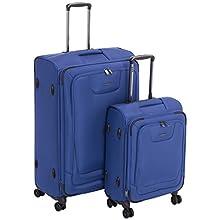 AmazonBasics Premium Valise souple et extensible à roulettes pivotantes avec serrure TSA intégrée Lot de 2 pièces 53 cm, 74 cm, Bleu