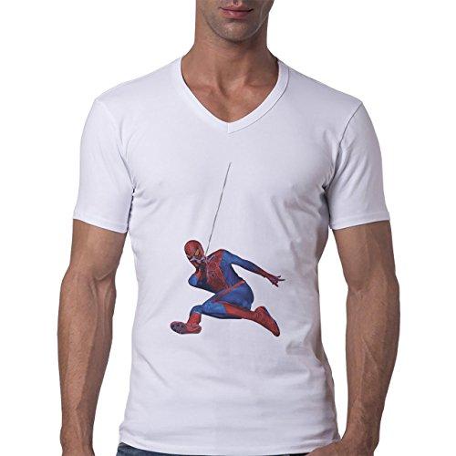 Spiderman Peter Parker Super Heroe Web Flying Herren V-Neck T-Shirt Weiß