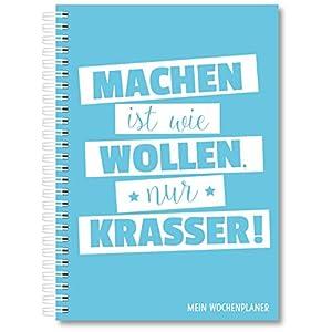 Wochenplaner Kalender Schülerkalender Wochenkalender Uni-Planer Terminplaner 2020 A5 ohne festes Datum für 365 Tage (Blau)