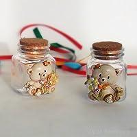 Bomboniere (2 bomboniere) Barattoli in vetro con orsetto assortiti in resina