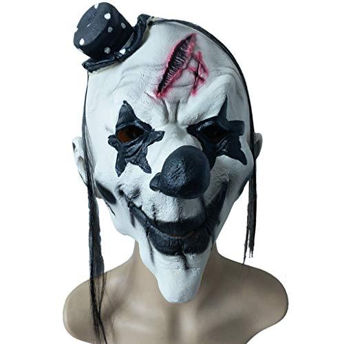 Halloween Weihnachten lustig anziehen Maske schwarz und weiß Clown Maske Grimasse Horror Latex Kopfbedeckung Maskerade Zeigen Requisiten Masken (Color : Weiß, Size : 27CM/11inch)