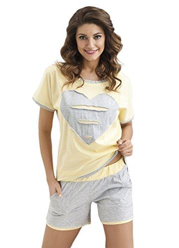 DOROTA Trendiges und bequemes Baumwoll-Shorty im stylischen Design und mit Taschen, gelb-grau, Gr. L