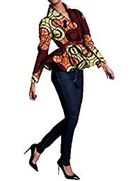 ca496537de4fb GUOCAI Women Batik African Print Dashiki Outerwear Plus Size Trench Coat  Blazer Jacket