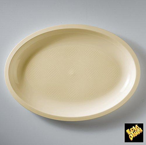 Round Ovales Grands Assiettes Plastique PP L315mm cfz 25pz Champagne