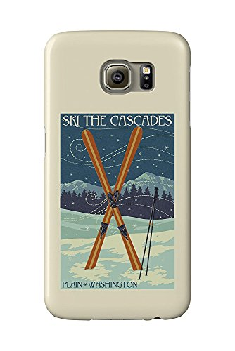 Plain, Washington - Crossed Skis - Letterpress (Galaxy S6 Cell Phone Case, Slim Barely There) Plain Ski